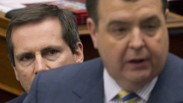 Ontario Premier Dalton McGuinty, left, is heard but not seen in the provincial Liberal party's latest campaign ad.