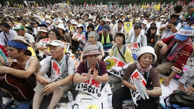 Anti-nuclear protesters converged in Tokyo Monday to call on the government to move away from nuclear power.