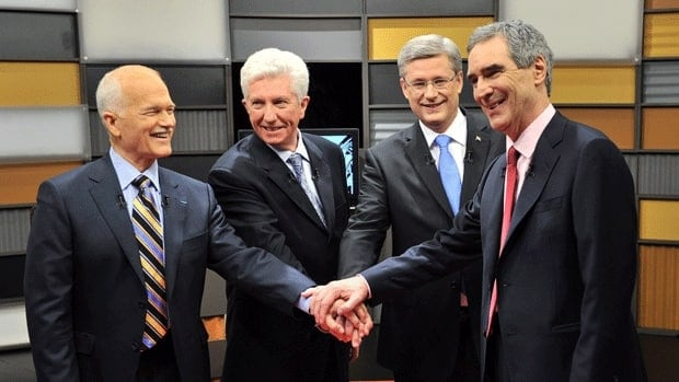 Sensitive U.S. diplomatic cables have been released by WikiLeaks about four of Canada's political leaders, left to right, the NDP's Jack Layton, the Bloc's Gilles Duceppe, the Conservatives' Stephen Harper and Liberals' Michael Ignatieff, shown before the French-language federal election debate in Ottawa on April 13.