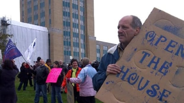 Protesters at the house of assembly in St. John's.