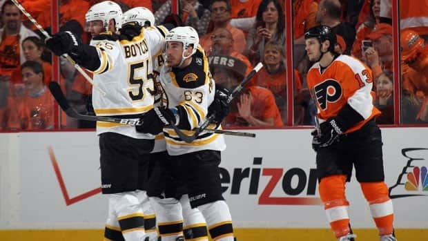 The Boston Bruins celebrate a goal by Brad Marchand in the second period.