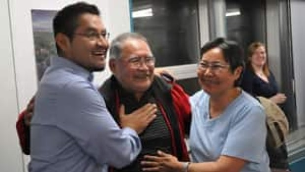 Alfred Moses, left, won the Inuvik Boot Lake riding vacated by former premier Floyd Roland by five votes. The small margin will trigger an automatic recount. (CBC)