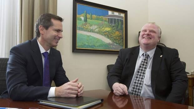 Ontario Premier Dalton McGuinty, left, meets Toronto Mayor Rob Ford at the Ontario Legislature in 2010. Ford, who is openly conservative, said that Thursday night's Liberal minority result was 'excellent' for Toronto.