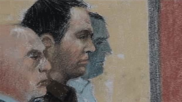A courtroom sketch depicts Guy Turcotte, centre, during closing arguments at the St-Jérôme courthouse Monday.