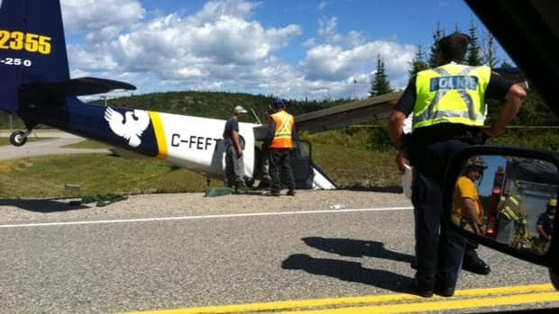 A plane blocks part of the Trans-Canada Highway near Marathon, Ont.