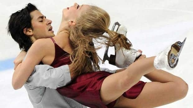 Canada's Kaitlyn Weaver, right, and Andrie Poje of Canada perform in Saturday's free dance in Moscow.