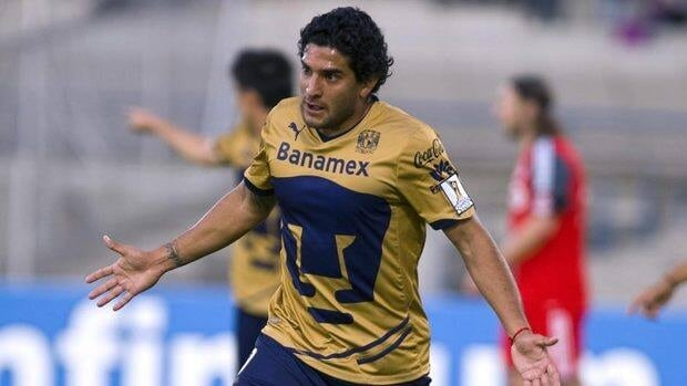 Martin Bravo of Pumas of Mexico celebrates a goal in a game against Toronto FC.