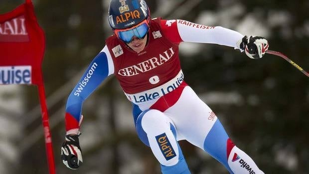 Dominique Gisin of Switzerland blasts down the course in training Thursday in preparation for Friday's season-opening women's World Cup downhill at Lake Louise.