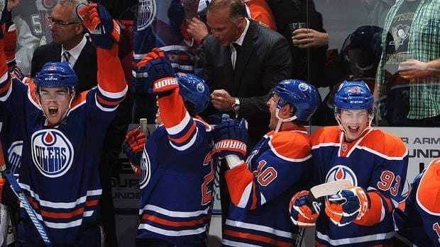 The Oilers bench erupts following their shootout win over the Penguins on Sunday. Edmonton prevailed 2-1.