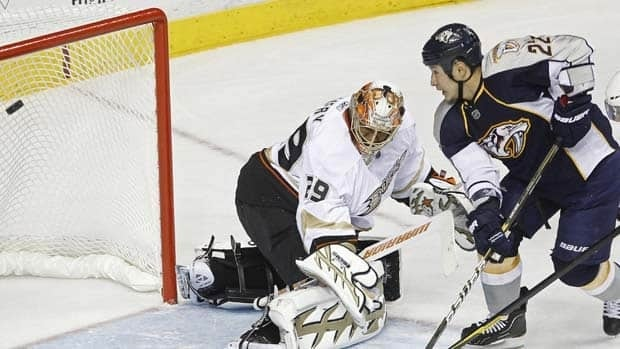 Nashville Predators right wing Jordin Tootoo scores against Anaheim Ducks goalie Ray Emery during Game 3 action.