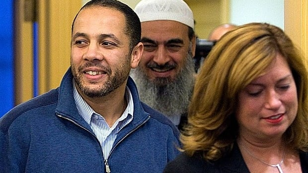 Adil Charkaoui arrives with supporters at a news conference in October 2009 celebrating the removal of his security certificate and bail conditions. Last Friday, a CSIS document leaked to La Presse alleged once again that he was part of a terror plot.