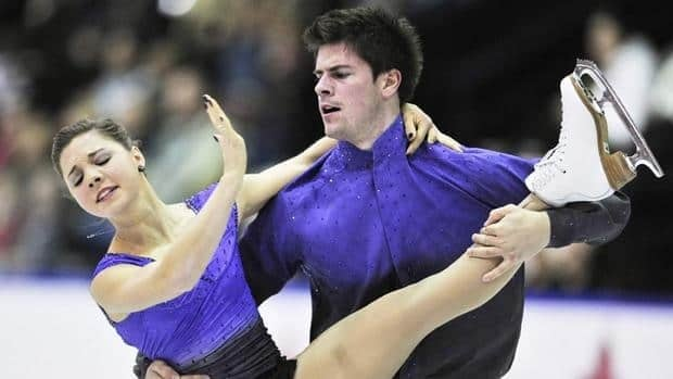Jessica Dube and Sebastien Wolfe of Canada perform their free program in the pairs competition during the Skate Canada International figure skating event in Mississauga.