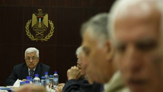 Palestinian President Mahmoud Abbas attends a meeting of the Palestine Liberation Organization executive committee in the West Bank city of Ramallah on Thursday.