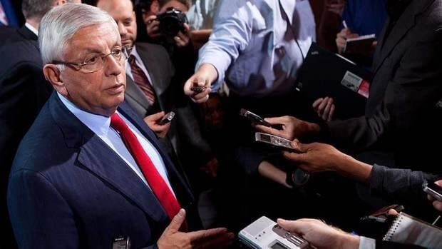 National Basketball Association commissioner David Stern speaks to the news media after a marathon meeting with the Players Association on Thursday.