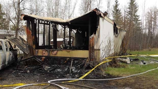 Two male bodies were found in this Prince George, B.C., trailer after the fire was put out early Tuesday.  CBC/Wil Fundal