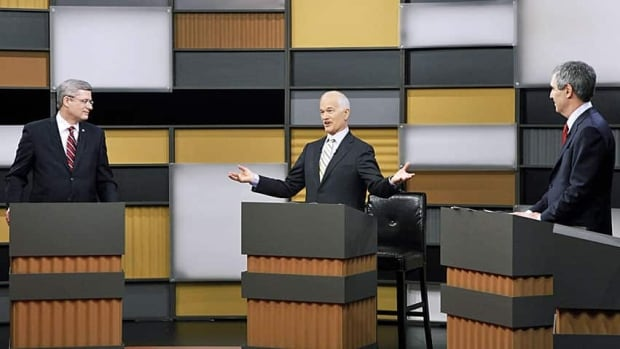 NDP Leader Jack Layton took full advantage of his central position in the 2011 leaders' debate against Conservative Leader Stephen Harper and Liberal Leader Michael Ignatieff.