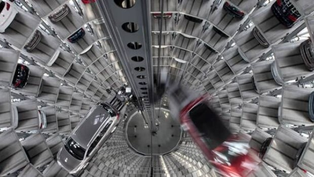 As Europe spirals deeper into a debt crisis, the focus is on Germany to lead a way out. Recent economic indicators suggest foreign demand for German products like these Volkswagen cars at a plant in Wolfsburg, Germany, is falling.