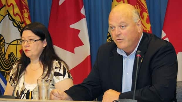 Bethany Thorne-Dykstra was at a news conference with Natural Resources Minister Bruce Northrup on Wednesday to say her group no longer supports a moratorium on hydro-fracking. (Courtesy of the Government of New Brunswick)