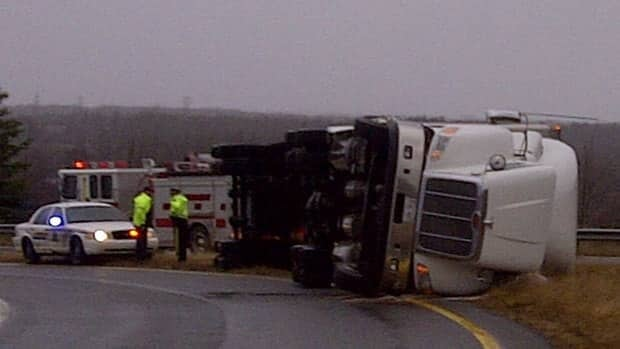 High winds knocked over a truck near Sydney, N.S.