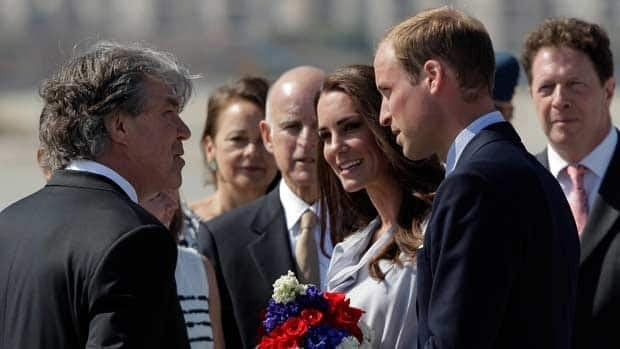 Prince William and Kate, the Duke and Duchess of Cambridge, talk to Canadian Consul General David Fransen as they arrive at Los Angeles International Airport.