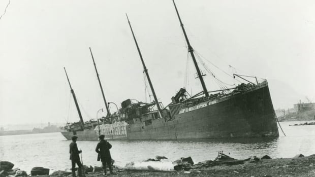 The Norwegian steamship Imo is shown beached on the Dartmouth shore after the 1917 Halifax explosion. Its collision with the munitions ship Mont-Blanc sparked the fire that set off the explosion.