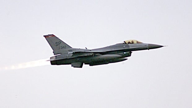 An aircraft like this U.S. F-16 Fighting Falcon could be used to enforce a no-fly zone in Libya.