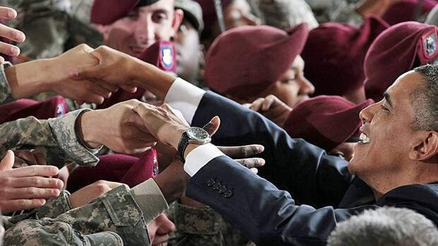President Barack Obama greets members of the military at Fort Bragg, N.C., on Wednesday.