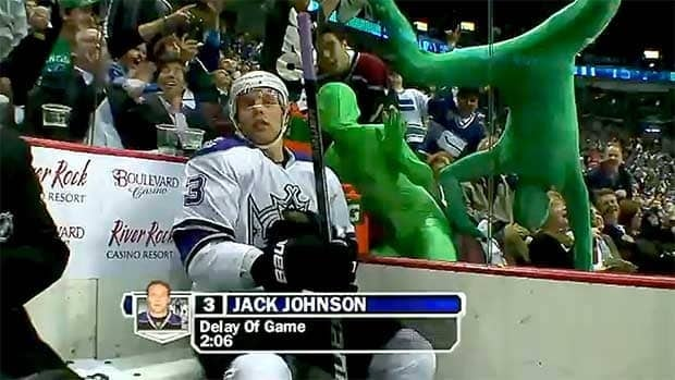 The Green Men try to distract L.A. Kings player Jack Johnston during a playoff game in Vancouver last year.