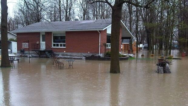 One of the hundreds of flooded homes along Quebec's Richelieu River, where water levels have already reached record highs.