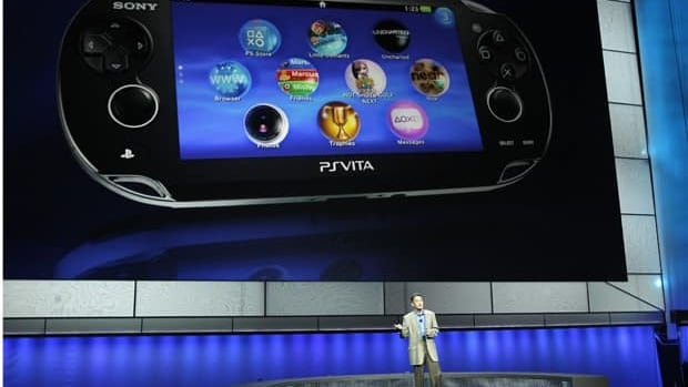 Sony president Kazuo Hirai presents the new PlayStation Vita handheld games device on Monday during a media briefing before the opening day of the Electronic Entertainment Expo in Los Angeles.