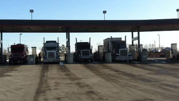 Semi-trailers pull in for Tuesday at the Flying J Travel Plaza just west of Winnipeg.