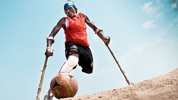 Single-leg amputee Bono is one of the players followed in the documentary project Leone Stars, which won the 2011 Pitch This! competition at TIFF.