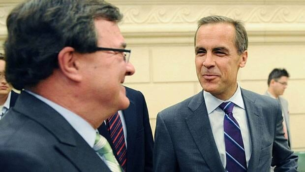 Finance Minister Jim Flaherty, left, and Bank of Canada governor Mark Carney chat as they appear before the Commons finance committee.