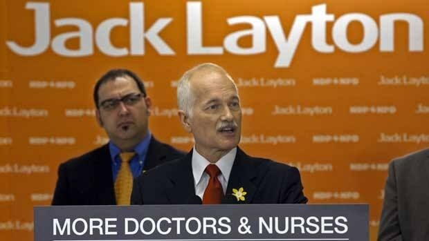 NDP Leader Jack Layton announces a plan to hire and train more family doctors as he makes a campaign stop at Laurentian University in Sudbury, Ont. on Friday.