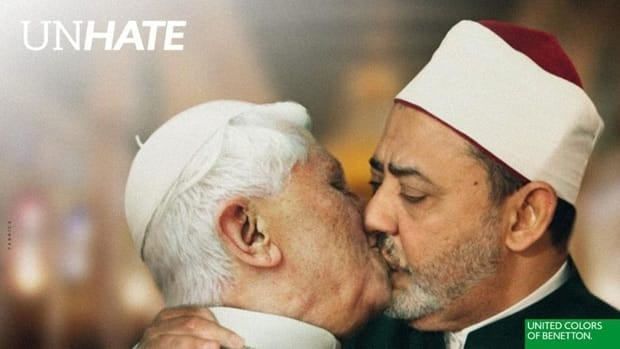 Pope Benedict XVI and Egyptian Ahmed Mohamed el-Tayeb, imam of the Al-Azhar mosque in Cairo, are depicted as kissing in a new Benneton ad campaign that also features other world leaders.(Benetton)