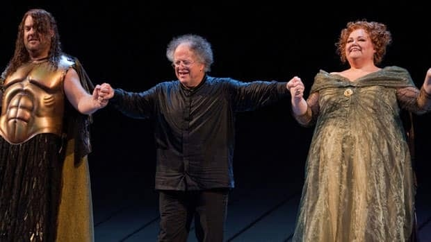 Metropolitan Opera music director James Levine, centre, takes a bow following the opening night performance of Robert Lepage's production of Wagner's Das Rheingold on Sept. 27, 2010. He has cancelled this fall's performances with an injured back.