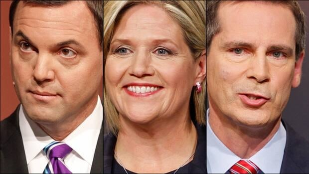 Ontario voters are casting ballots in an election that has been called the closest in years. From left, PC Leader Tim Hudak, NDP Leader Andrea Horwath and Liberal Leader Dalton McGuinty.