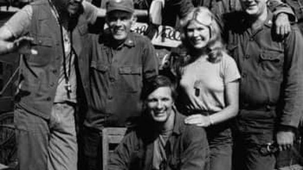 MASH cast, from left: Mike Farrell, Bill Christopher, Harry Morgan, Alan Alda, Loretta Swit, Jamie Farr and David Ogden Stiers. Morgan died on Wednesday.