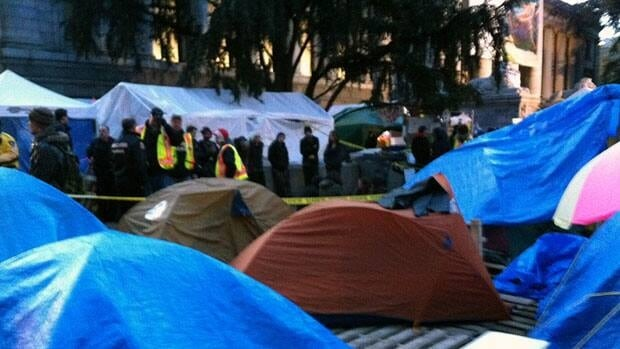 Police say a woman died at hospital after she was taken by ambulance from the Occupy Vancouver tent city on Saturday.