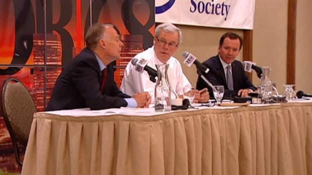 Jon Gerrard, Greg Selinger and Hugh McFadyen debate on Wednesday.