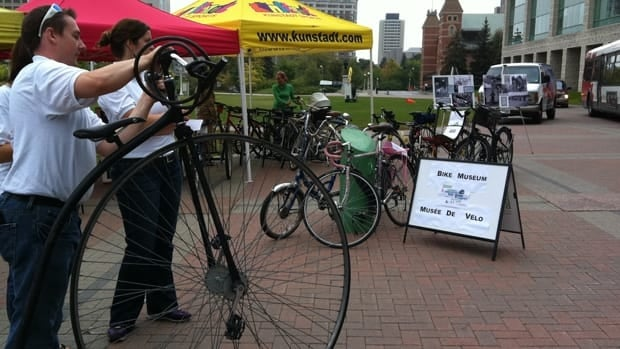 A temporary bicycle museum was set up at Marion Dewar Plaza outside City Hall for car-free day.