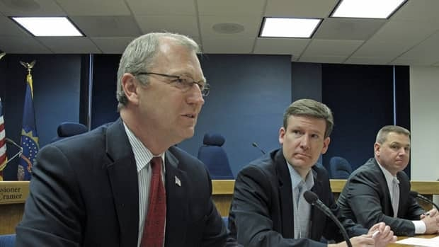 North Dakota Public Service Commissioner Kevin Cramer, left, speaks as commissioners Tony Clark, center, and Brian Kalk listen on Friday. The commission voted to order a formal investigation into a spill from TransCanada Corp.'s Keystone oil pipeline a week earlier. Dale Wetzel/Associated Press