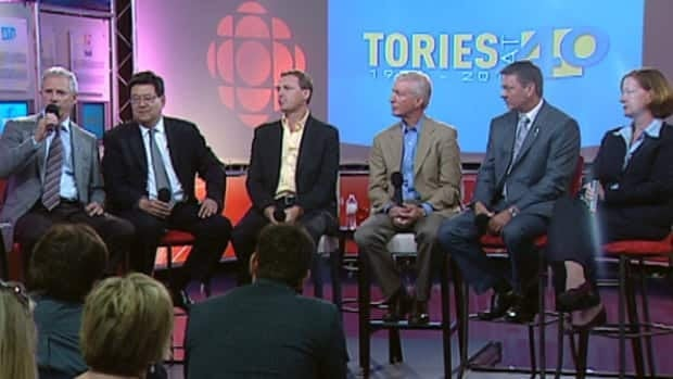 Rick Orman, Gary Mar, Doug Griffiths, Ted Morton, Doug Horner and Alison Redford took part in a recent leadership forum at CBC Edmonton.