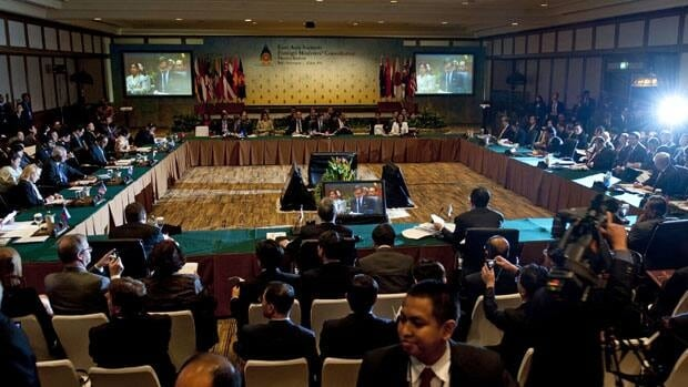 Foreign ministers attend the East Asia Summit Plenary Session held on the sidelines of the Association of Southeast Asian Nations (ASEAN) ministerial meetings in Nusa Dua on Indonesia's resort island of Bali on Friday. Nuclear envoys from North and South Korea held talks in Bali for the first time since six-party nuclear negotiations collapsed in December 2008.