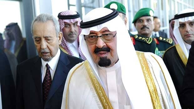 King Abdallah bin Abdulaziz al Saud is greeted as he arrives at Toronto International Airport to attend the G-8 and G-20 Summits June 25, 2010. Saudi Arabia is the largest market for Canadian arms sales in the Middle East.