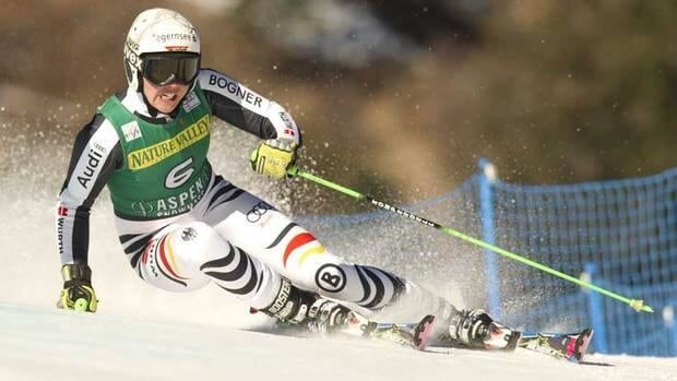 Viktoria Rebensburg leans into a turn during Saturday's World Cup giant slalom race at Aspen, Colo.