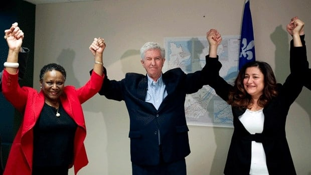 Maria Mourani, right, shown during an election campaign stop in Montreal in April with then BQ Leader Gille Duceppe and candidate Vivian Barbot, says the Bloc should be treated as a party despite having only four seats in Parliament.