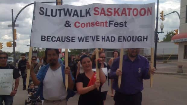 More than 200 people took part in the first Saskatoon SlutWalk.