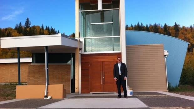 Dr. Firas Mansour, standing in front of northern B.C.'s first mosque, says the community has been incredibly supportive. Betsy Trumpener/CBC