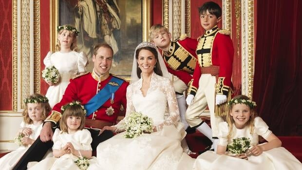 William and Kate and their wedding party.